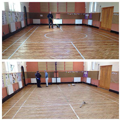 Sanding basketball court in schools