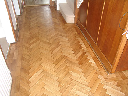 Herringbone floor after sanding