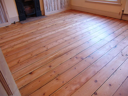 Pine floorboards after sanding