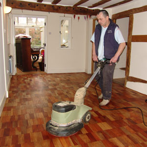Polishing a wooden floor