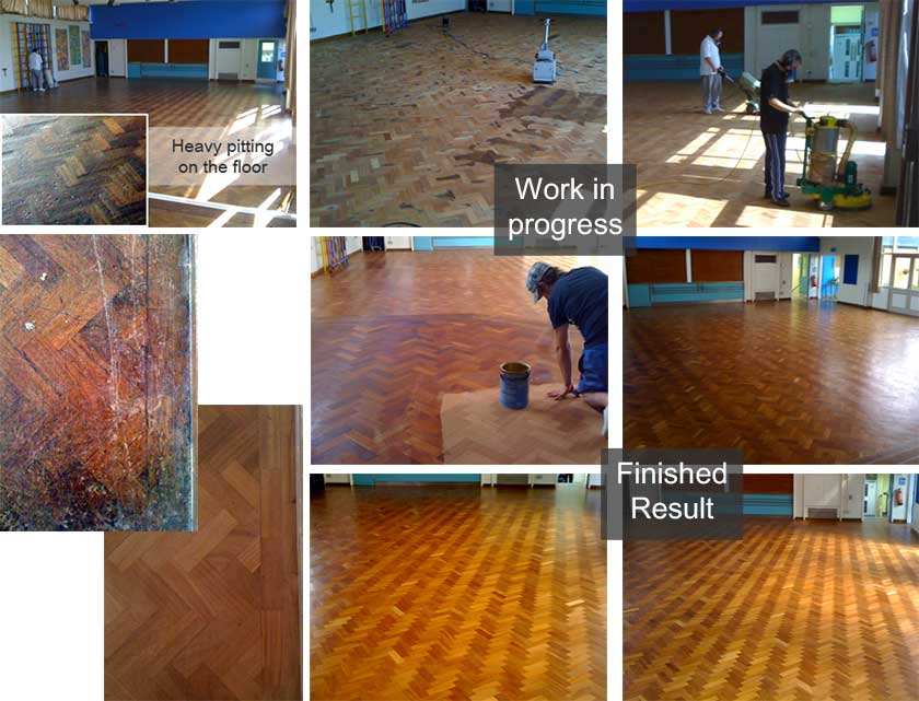 Sanding wooden floors in schools